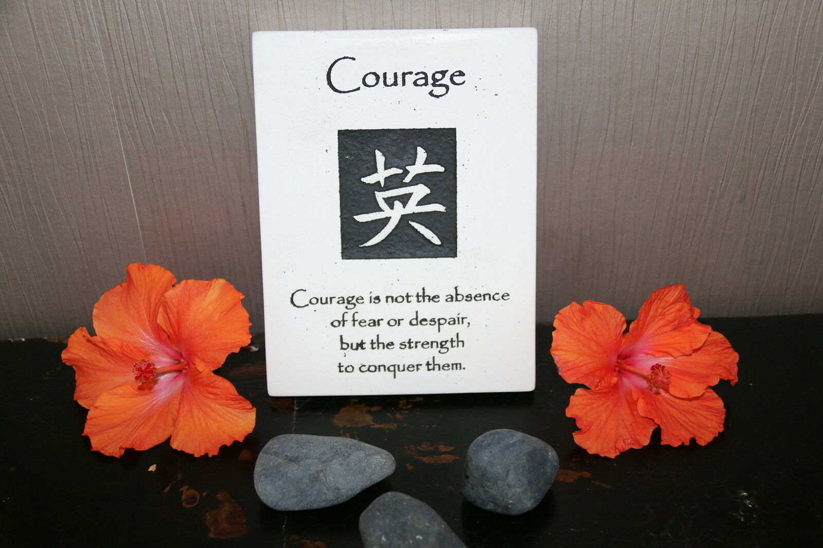 Brand New Balinese Hanging COURAGE Affirmation Plaque