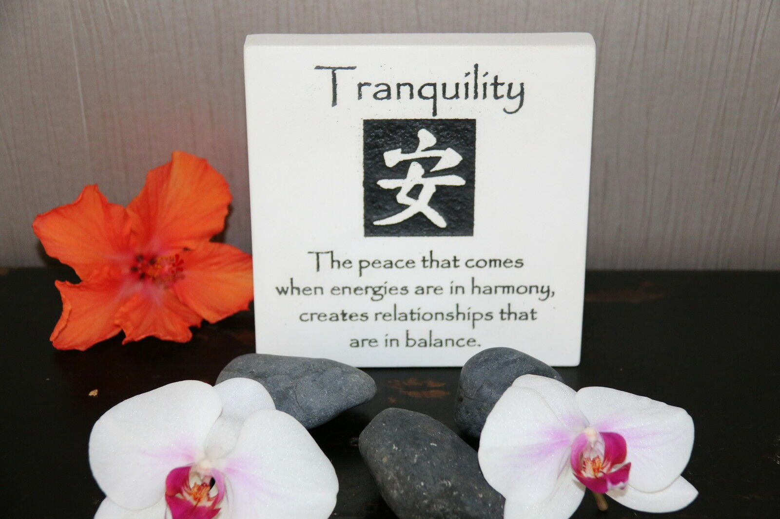 Brand New Balinese Free Standing TRANQUILITY Affirmation Plaque