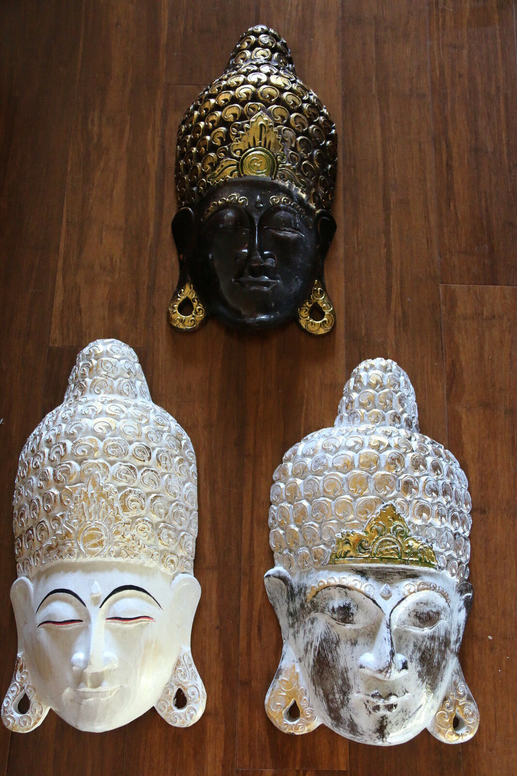 NEW Hand Carved Wooden Buddha Head Wall Decor - CHOOSE FROM THREE COLOURS!!