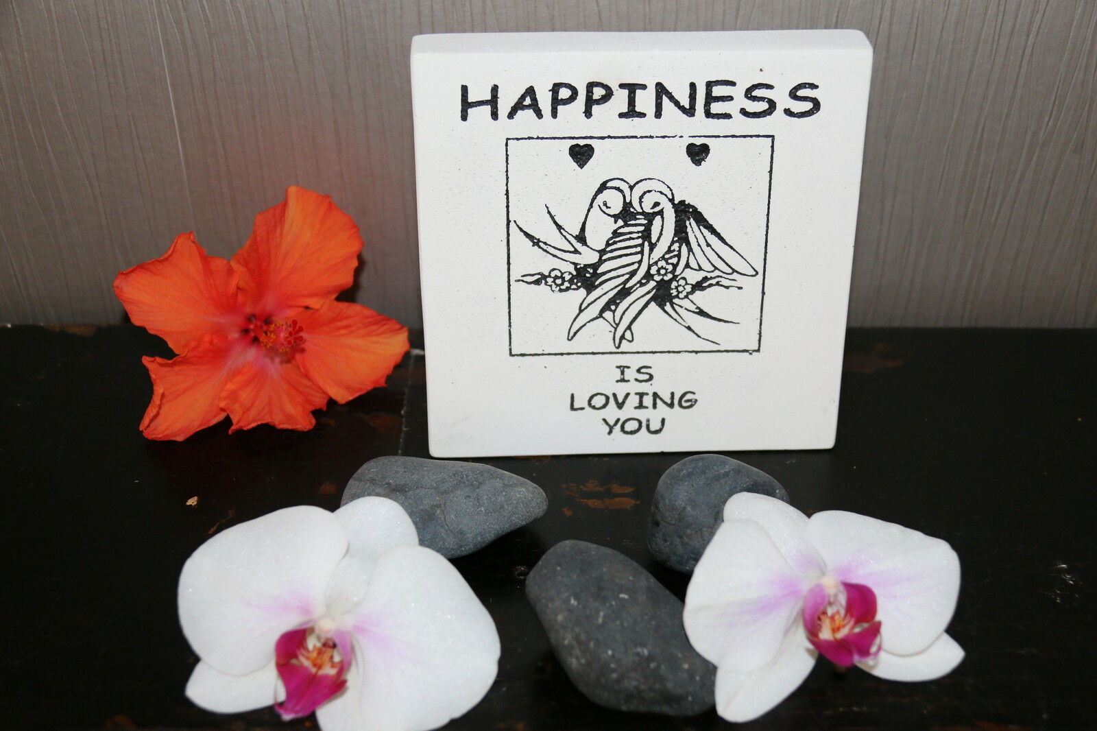 Brand New Balinese Free Standing HAPPINESS Affirmation Plaque
