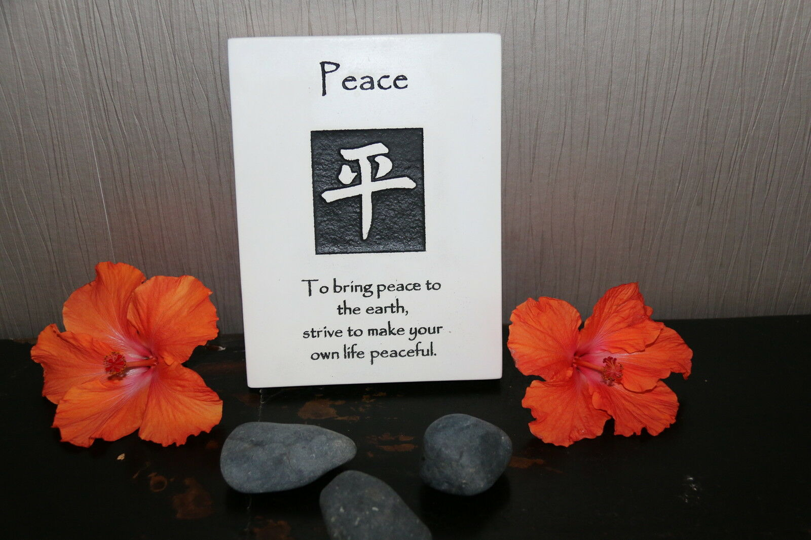 Brand New Balinese Hanging PEACE Affirmation Plaque