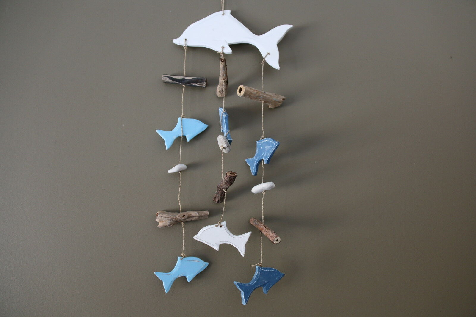 NEW Balinese Wooden Dolphin Mobile / Hanging with Driftwood Trim Handcrafted