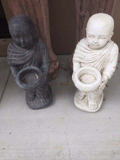 NEW Balinese Monk Cast Statue - Choose from  BLACK or WHITE - Bali Garden Art