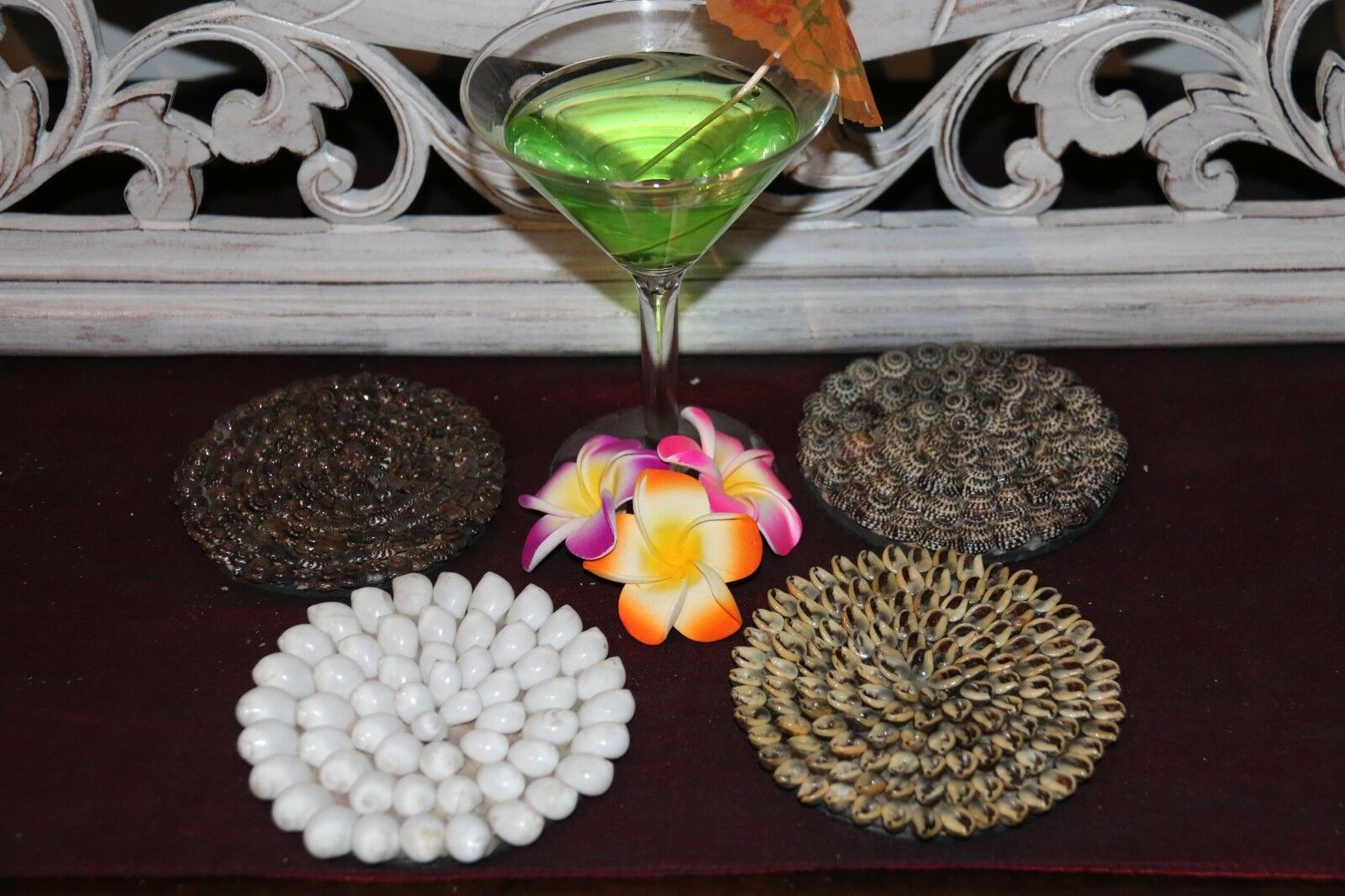 NEW Balinese Hand Crafted Shell Encrusted Coasters - Shell Home Decor