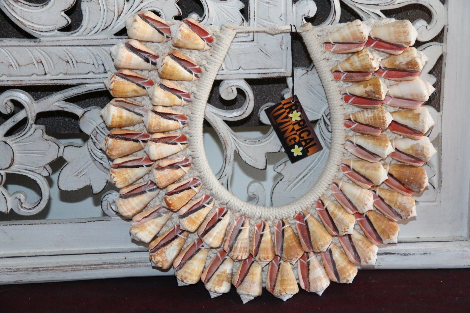NEW Hand Crafted Balinese Shell Tribal Neck Piece - Primitive Shell Art - BOHO A
