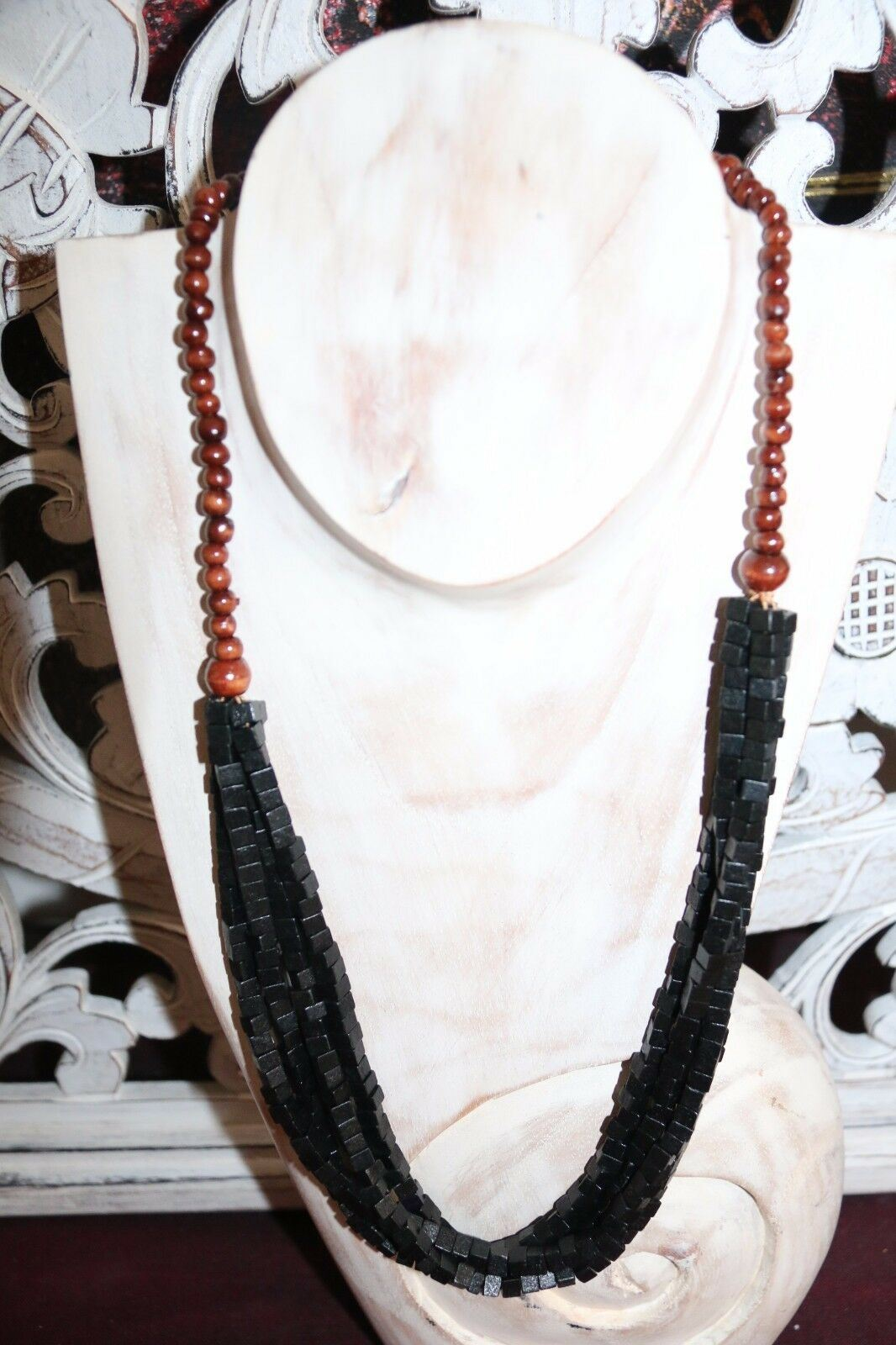NEW Hand Crafted Wooden Bead Necklace - MANY COLOURS - Perfect Inexpensive Gift