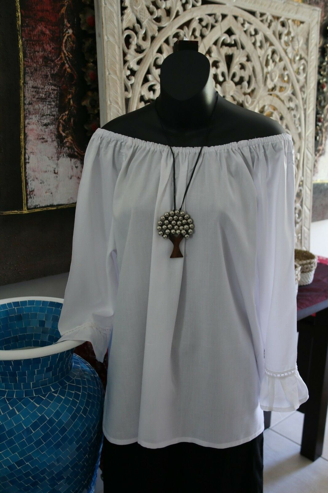 NEW Bali Peasant Style Top 4 Colours Avail - Very Pretty Top - Balinese Clothing