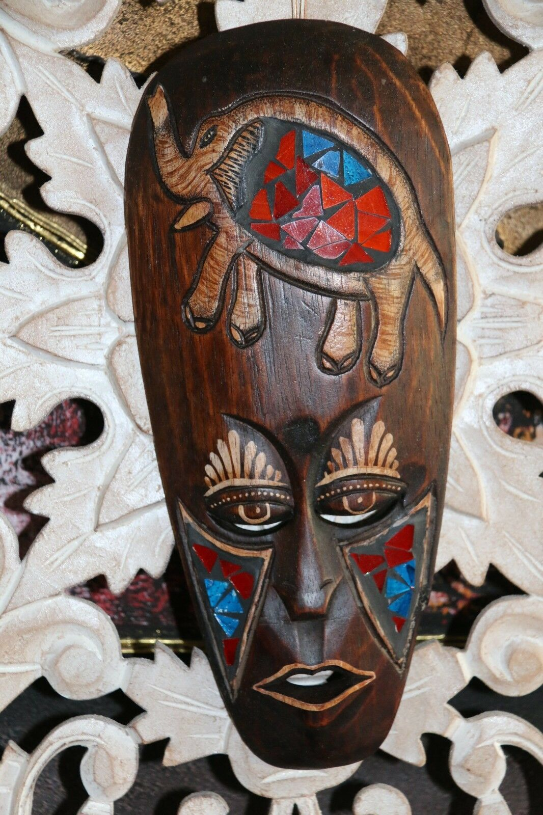 NEW Balinese Hand Carved Wood / Mosaic Primitive Mask - Wall Hung Tribal Mask