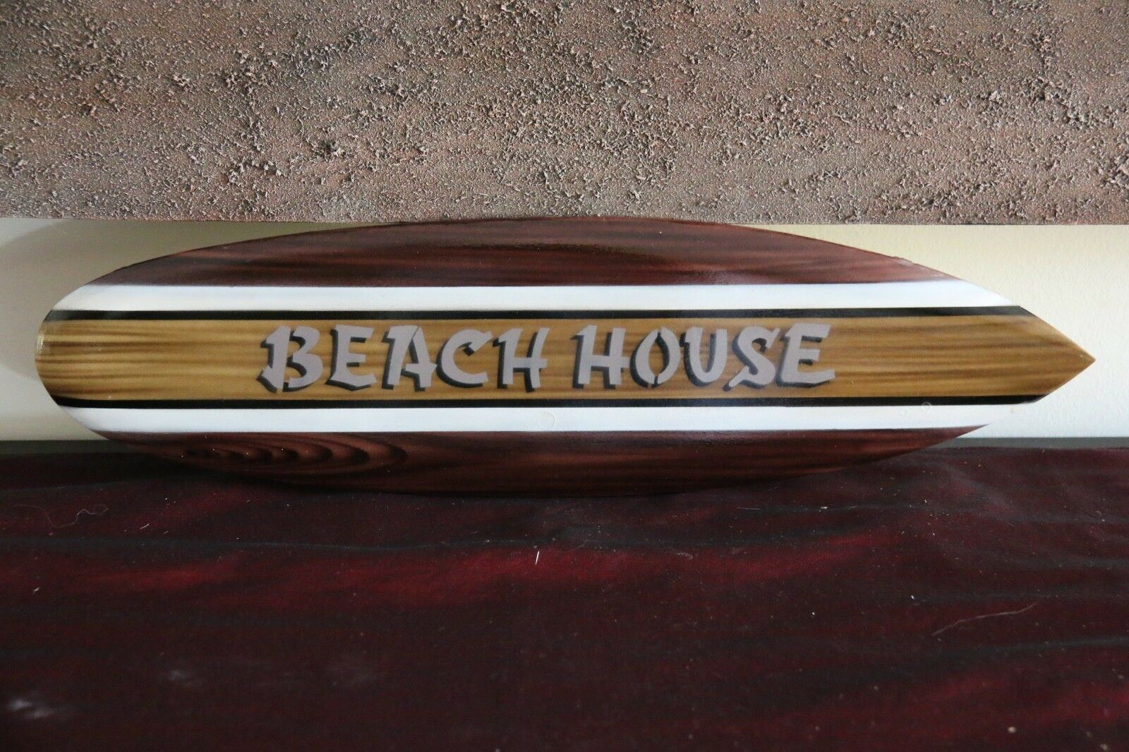 NEW Bali Handmade Woodie Surfboard BEACH HOUSE Sign - Bali Beach Surfboard Sign