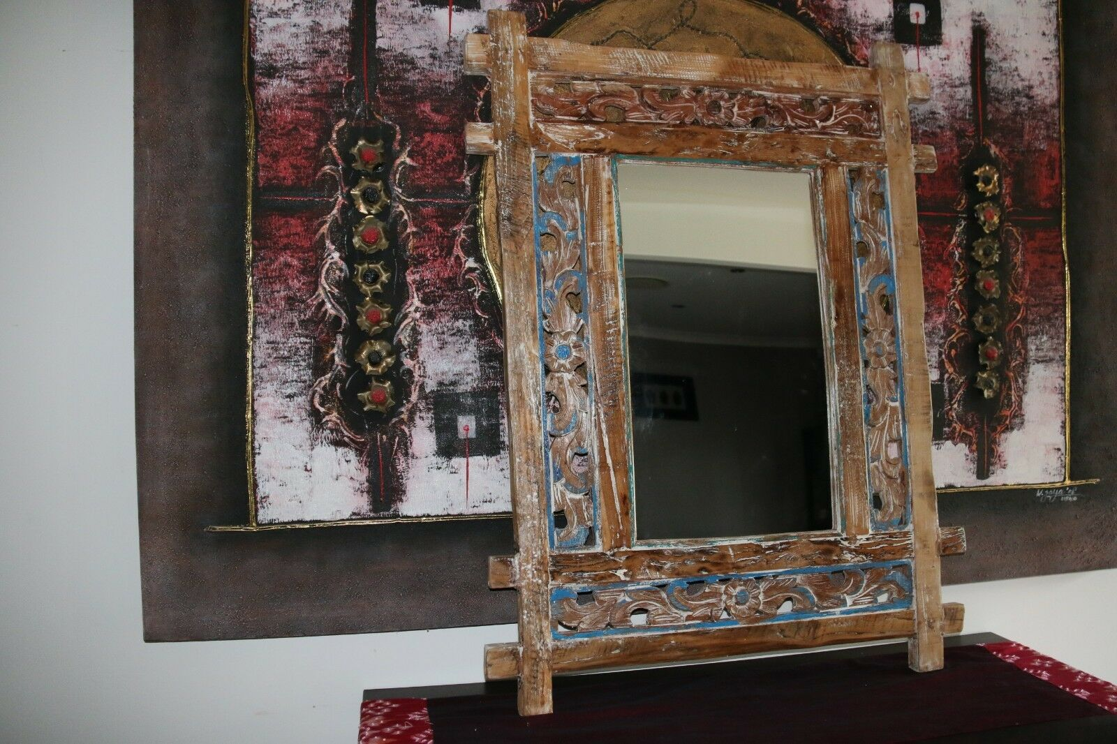NEW Recycled Teak Hand Crafted & Carved Feature Mirror - Balinese Teak Mirror