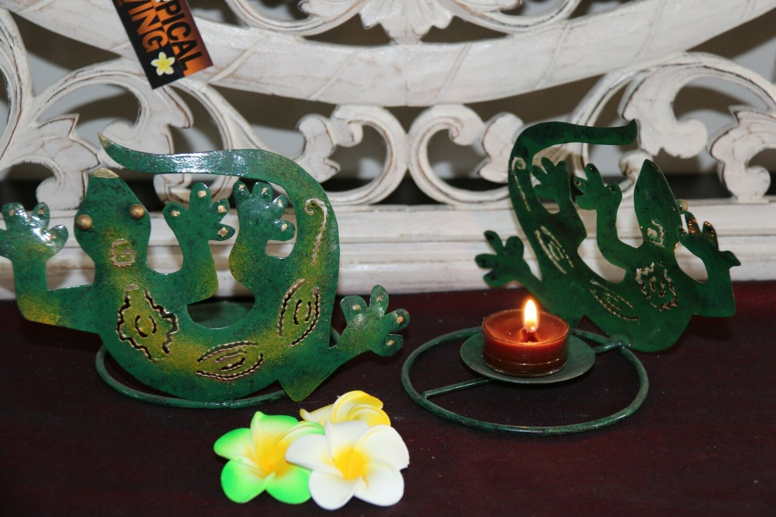 NEW Balinese Metal Gecko Tealight Candle Holder - FREEPOST!!