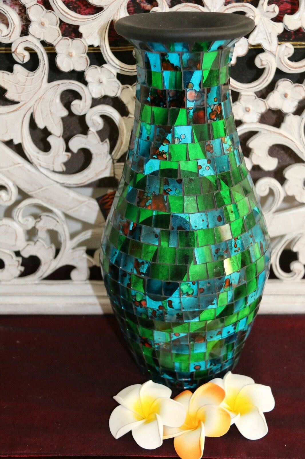 NEW Balinese Mosaic Decorative Vase - 2 Sizes!!  Bali Mosaic Vase Blue/Green