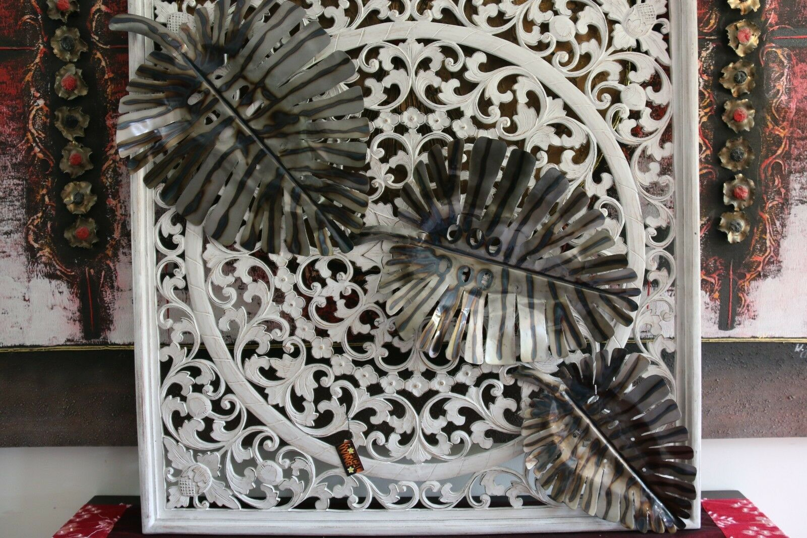 NEW Bali Hand Crafted Bali Metal Wall Art Monstereo Leaf - 3 Sizes Available