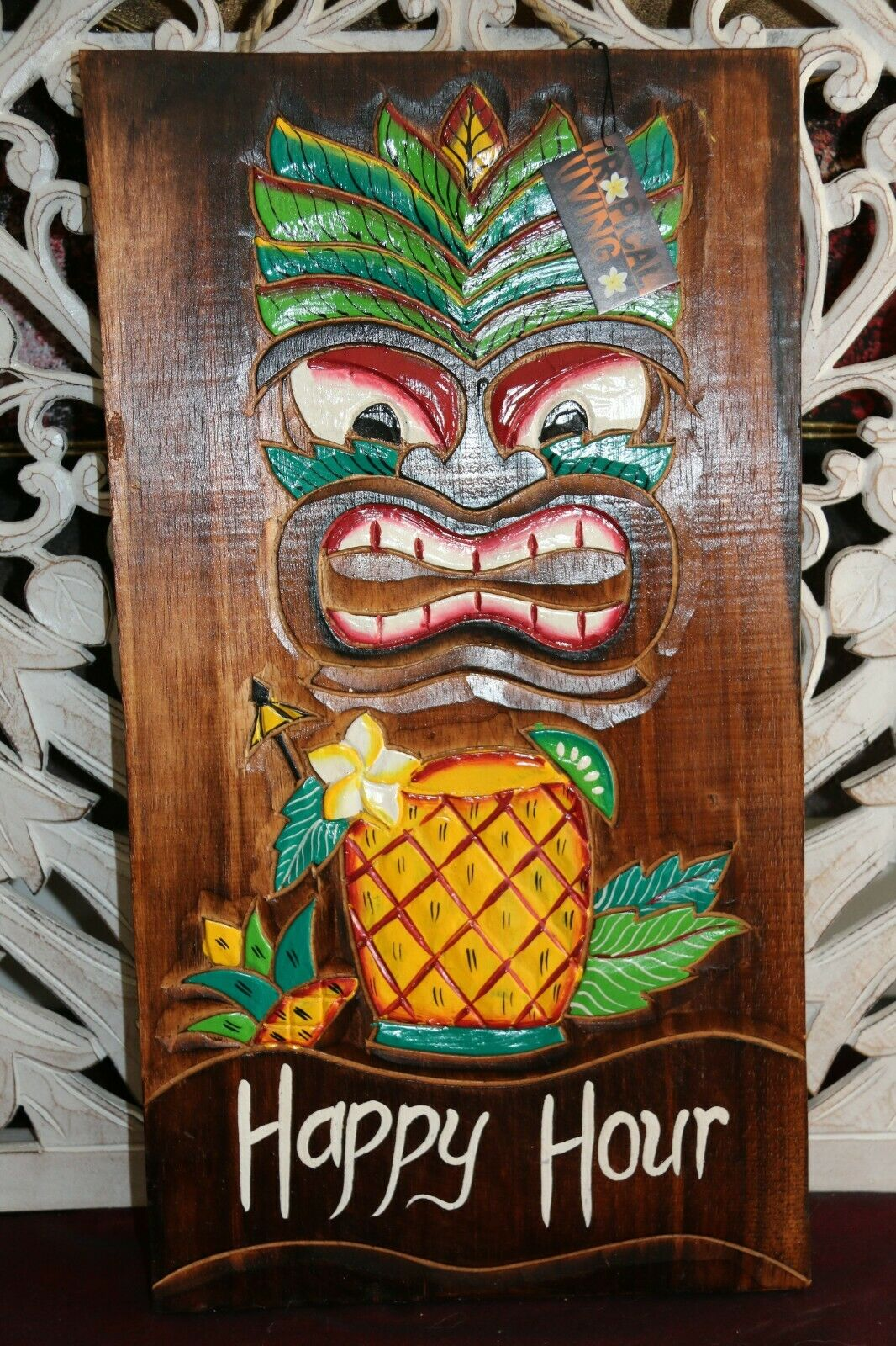 NEW Bali Hand Crafted Tiki Bar HAPPY HOUR Sign - Fun Bar Signs