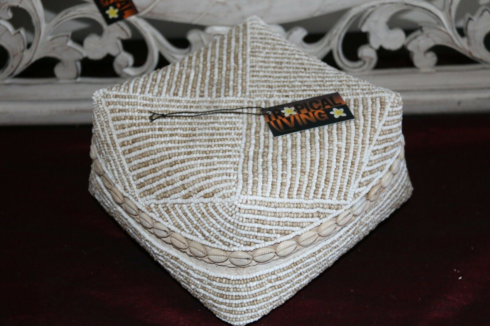 NEW Balinese Hand Crafted Woven & Hand Beaded Basket with Lid  - 3 Sizes - Bali