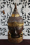 NEW Balinese Hand Carved Free Standing Wooden Buddha Head - Bali Buddha Head