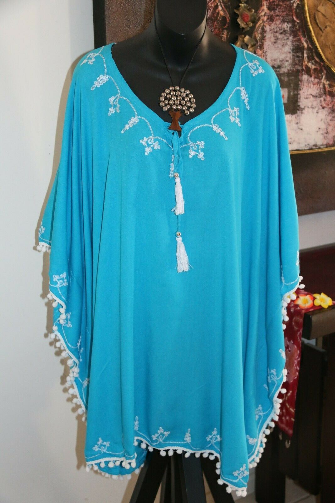 NEW Ladies Cotton Bali Kaftan Top/Dress - 3 Colours Perfect for over Swimmers
