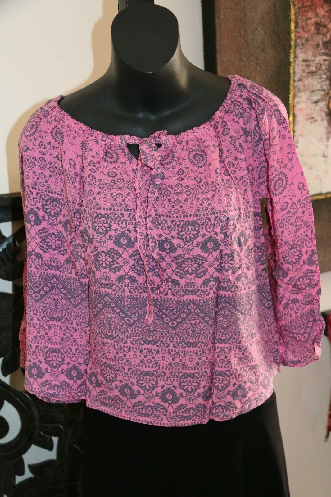 Beautiful 3/4 Sleeve Top - 7 COLOURS AVAIL One Size - Balinese Clothing