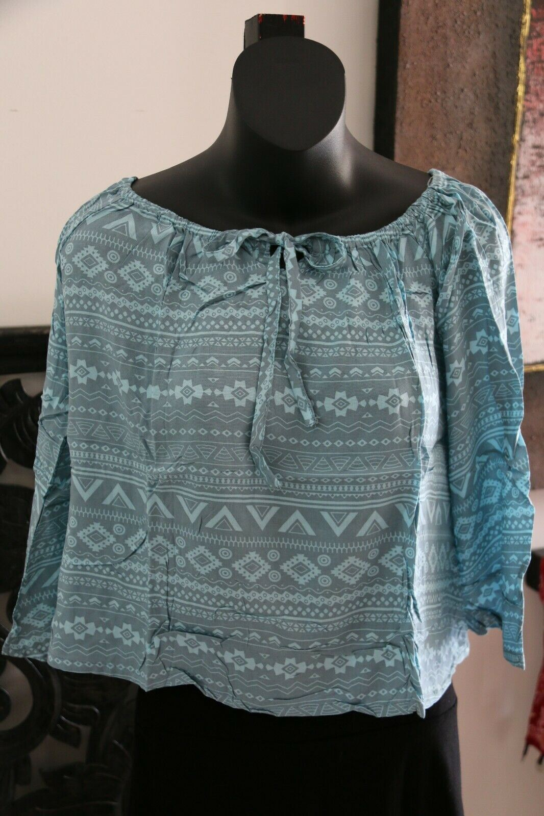 Beautiful 3/4 Sleeve Top - 5 COLOURS AVAIL One Size - Balinese Clothing