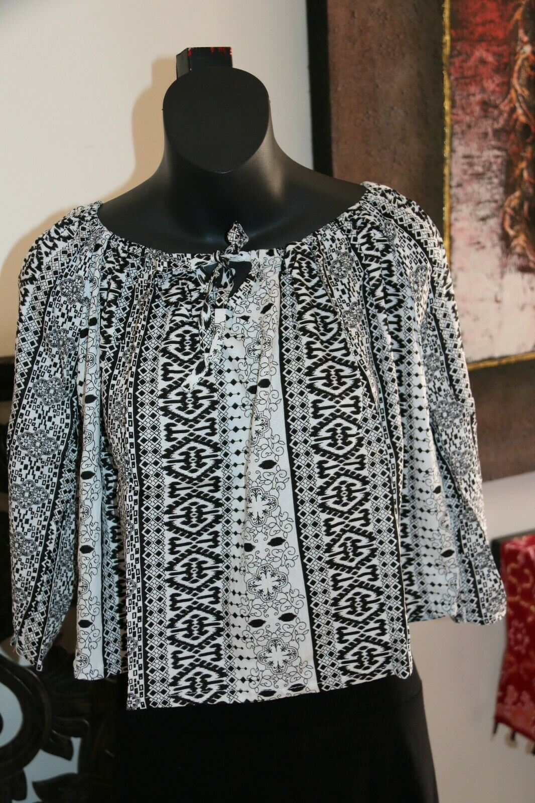 Beautiful 3/4 Sleeve Top - 3 COLOURS AVAIL One Size - Balinese Clothing