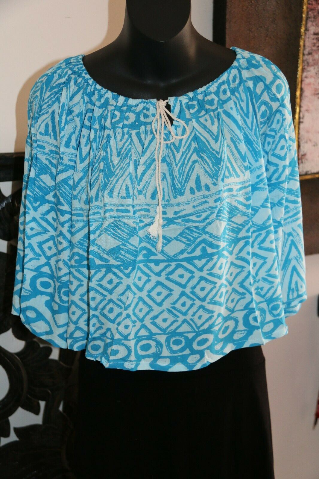 Beautiful 3/4 Sleeve Top - 4 COLOURS AVAIL One Size - Balinese Clothing