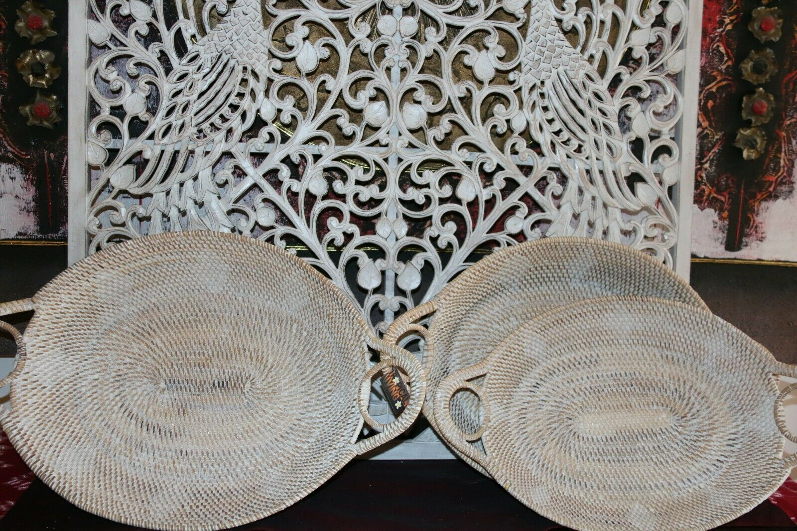 NEW Balinese Hand Woven White Washed Rattan Open Baskets / Trays - 3 sizes avail