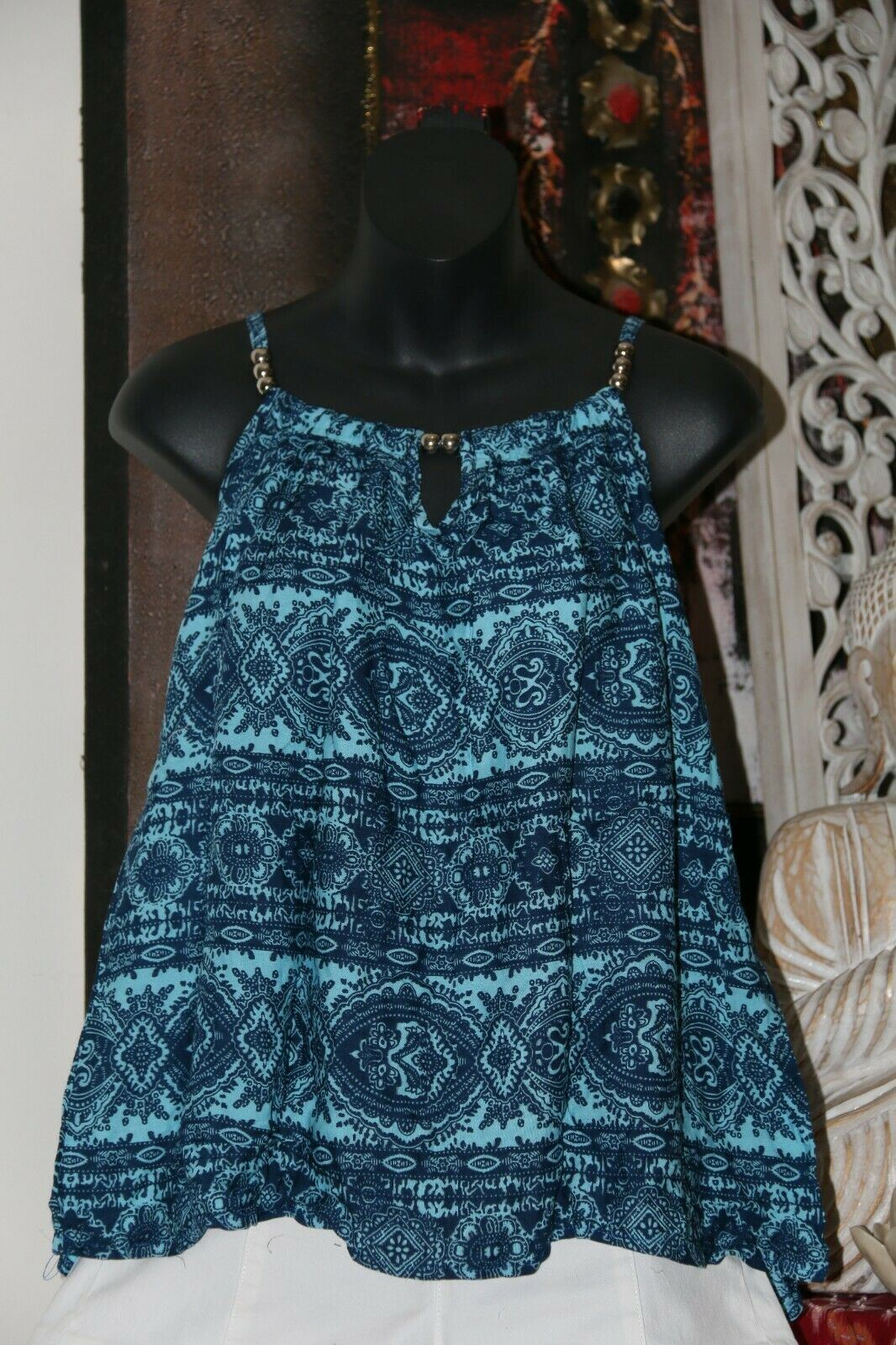 NEW Ladies Cotton Bali Top / One Size / Cool Balinese Top w/Silver Beads