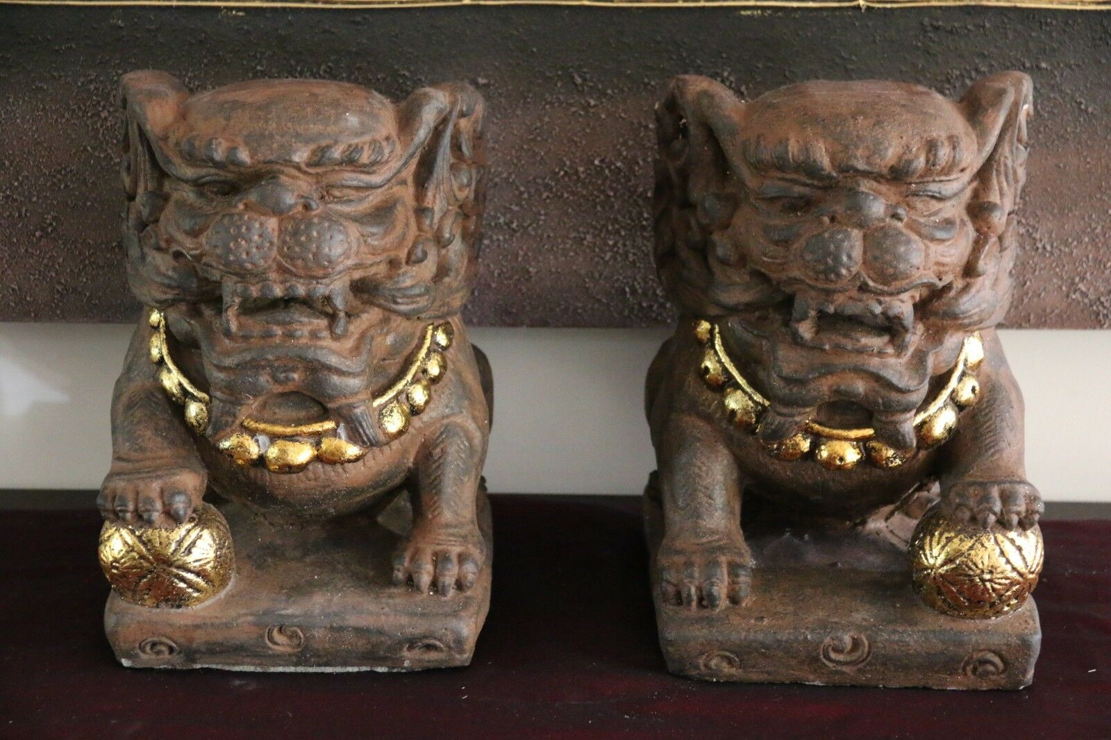 NEW Balinese Set 2 Foo Dog Statues / Set 2 Chinese Lion Statue - Bali Garden Art