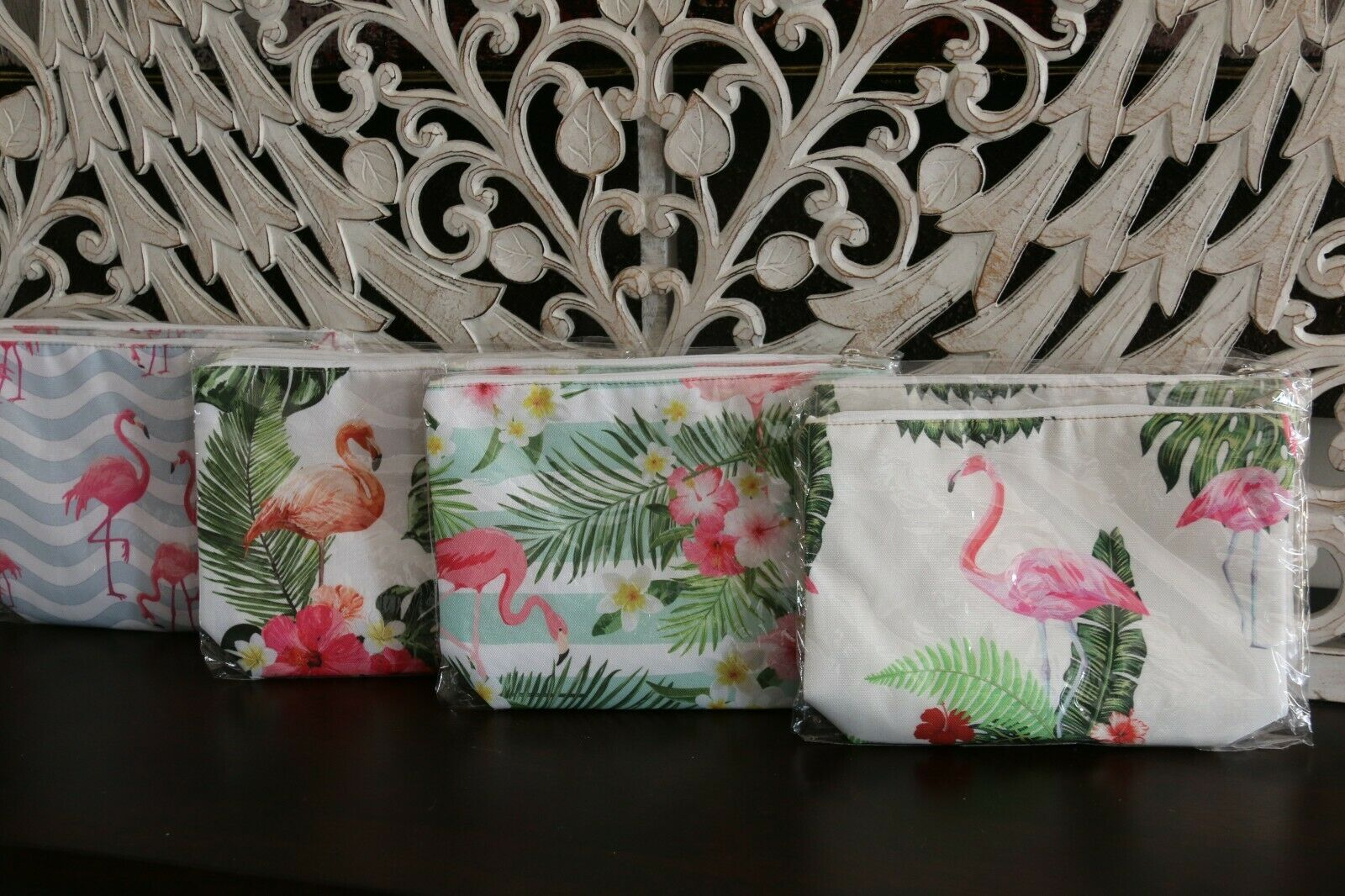 NEW Balinese Purse / Make Up Bag Lovely Bright Colours...  4 Flamingo Designs