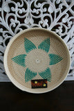 NEW Balinese Hand Woven Rattan Open Basket / Tray w/Motif - 2 sizes available