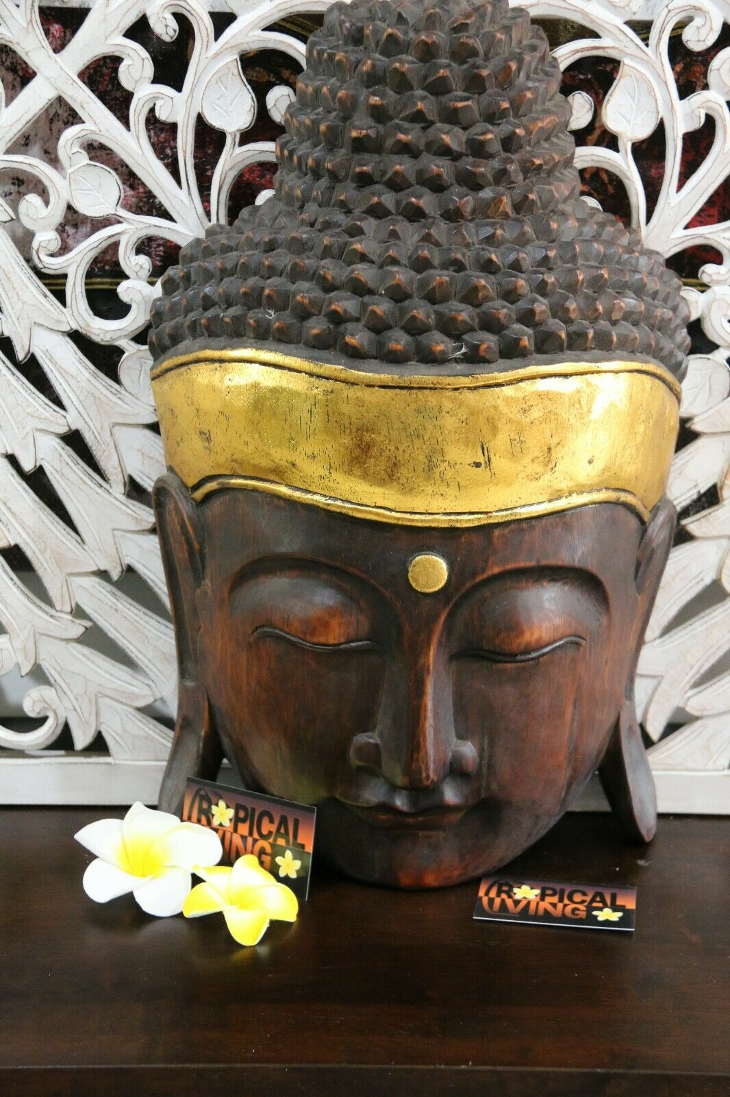 Balinese Hand Carved Wooden Buddha Head - Wall Mounted Bali Buddha Carved Wood