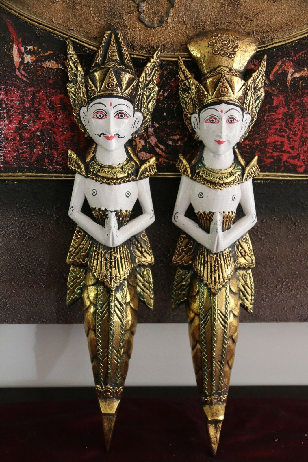 NEW Balinese Hindu Rama & Shinta Wood Carved Wall Sculptures - BALI Hindu Art