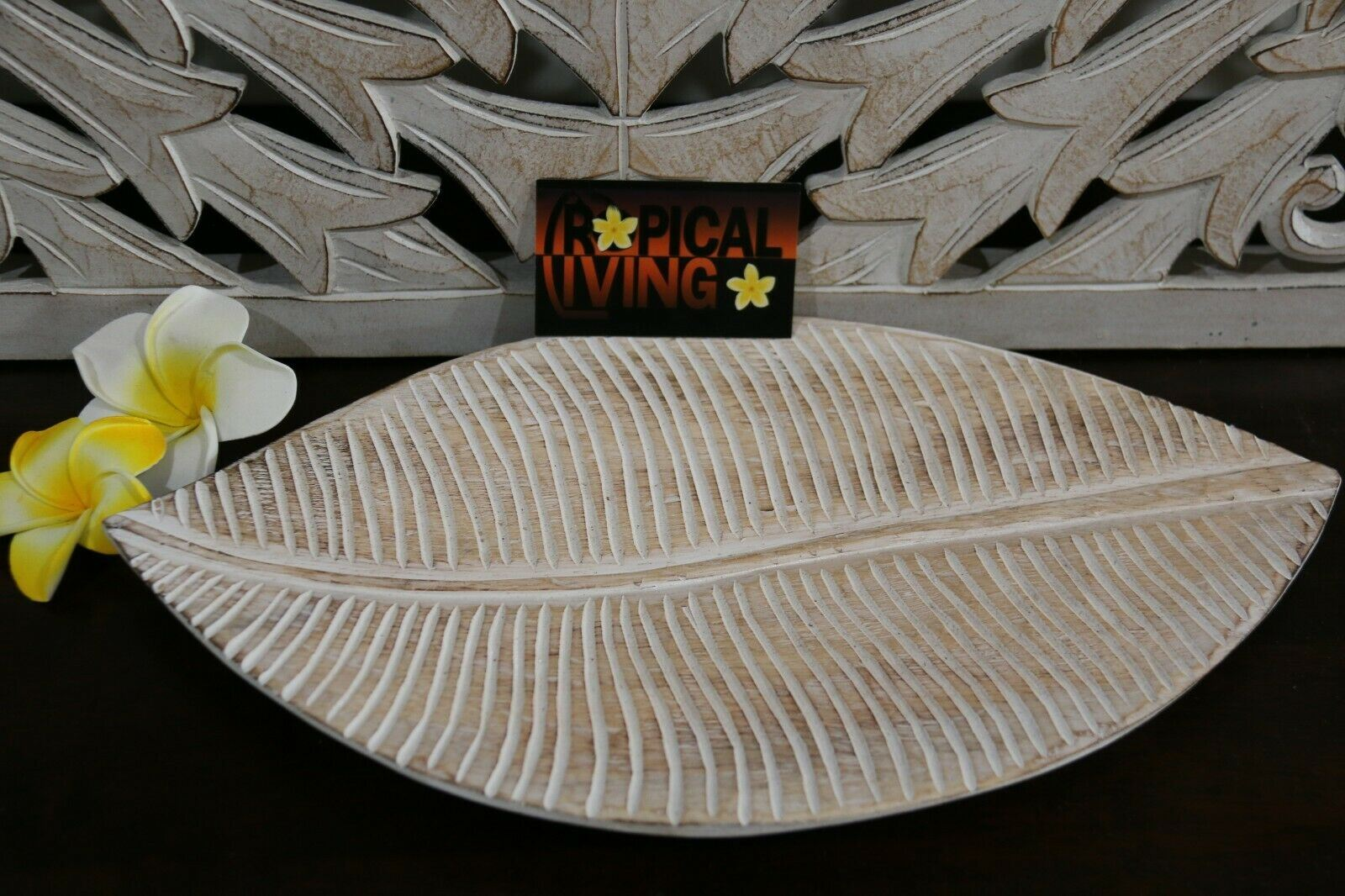 NEW Balinese Hand Carved Wooden Leaf Platter - 4 sizes available.