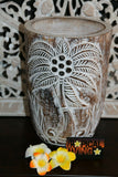 NEW Hand Carved Wooden Pot - BOHO Style  -  3 Colours Available