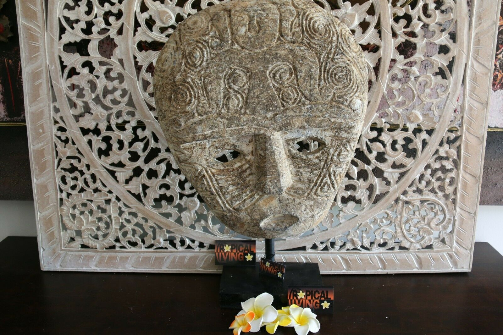 NEW Indonesian Hand Carved Primitive Wooden Mask Sculpture on Stand - TIMOR ART