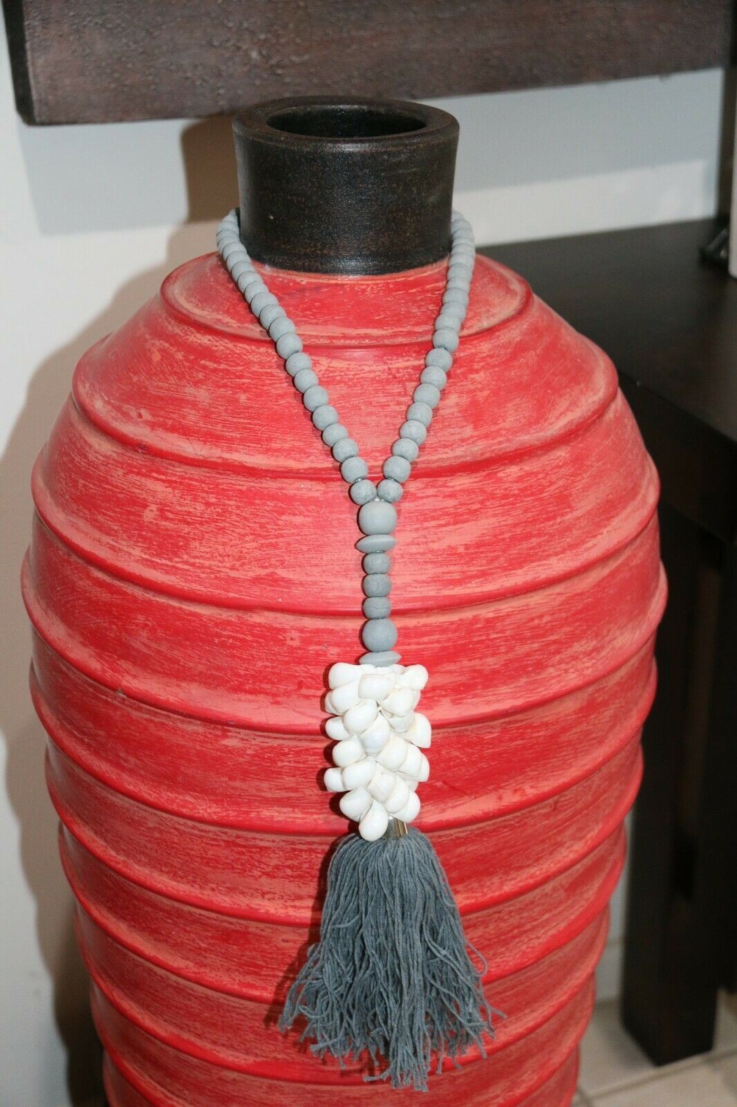 NEW Hand Crafted Balinese Wood Shell Necklace - Wood Bead/Shell Tassel Assorted