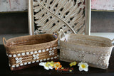 NEW Balinese Hand Crafted Woven Open Basket w/Rattan Trim - 2 Colours Avail