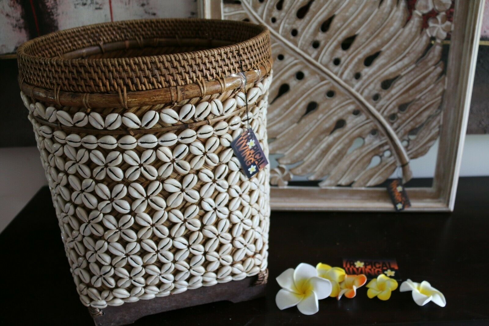 NEW Balinese Woven Basket w/Rattan & Shell Trim - Large Bali Shell Basket