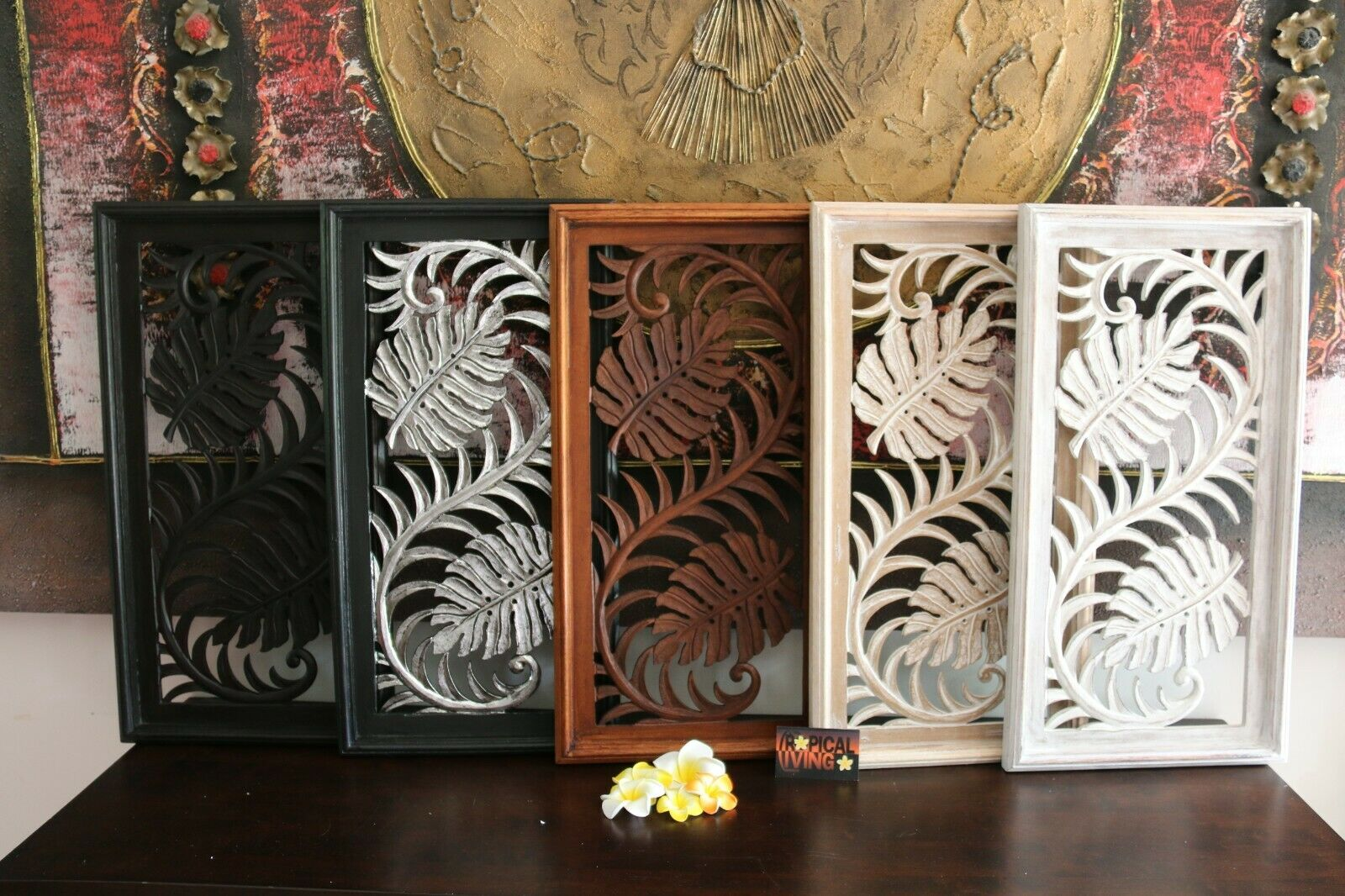 NEW Balinese Carved MDF/Wood Mandala / Tropical Wall Panels - Bali Wall Art - 5