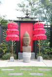 Balinese Triple Ceremony Umbrella - Bali Umbrella - Balinese Garden Art RED
