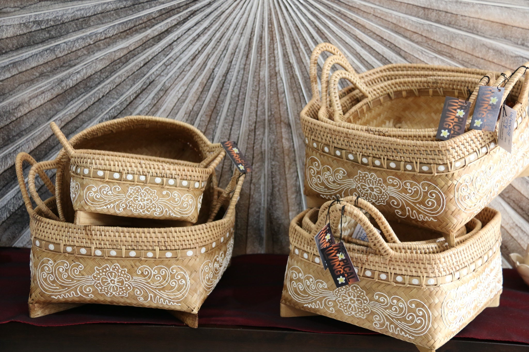 NEW Balinese Hand Woven Open Basket with Mandala Design Medium