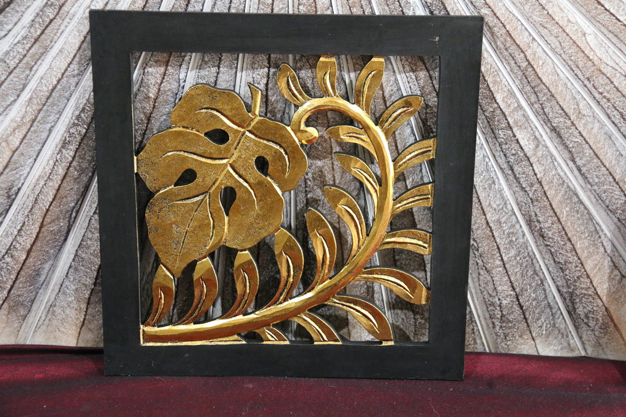 NEW Balinese Hand Carved Tropical Wall Panel Black/Gold!!