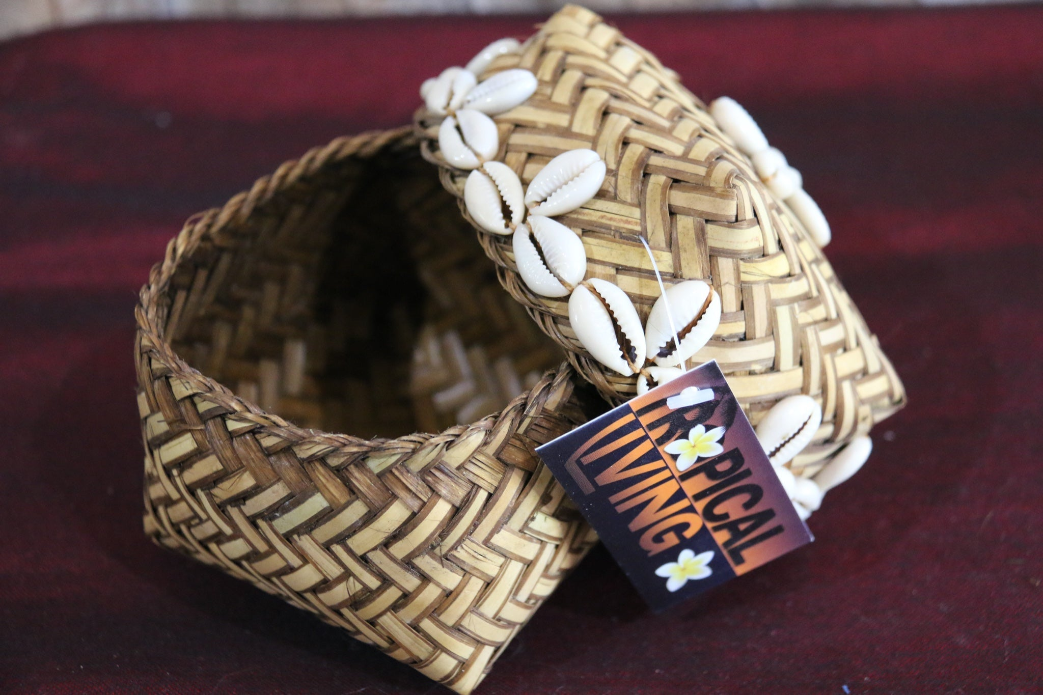 NEW Balinese Closed Basket w/Lid & Shell Trim
