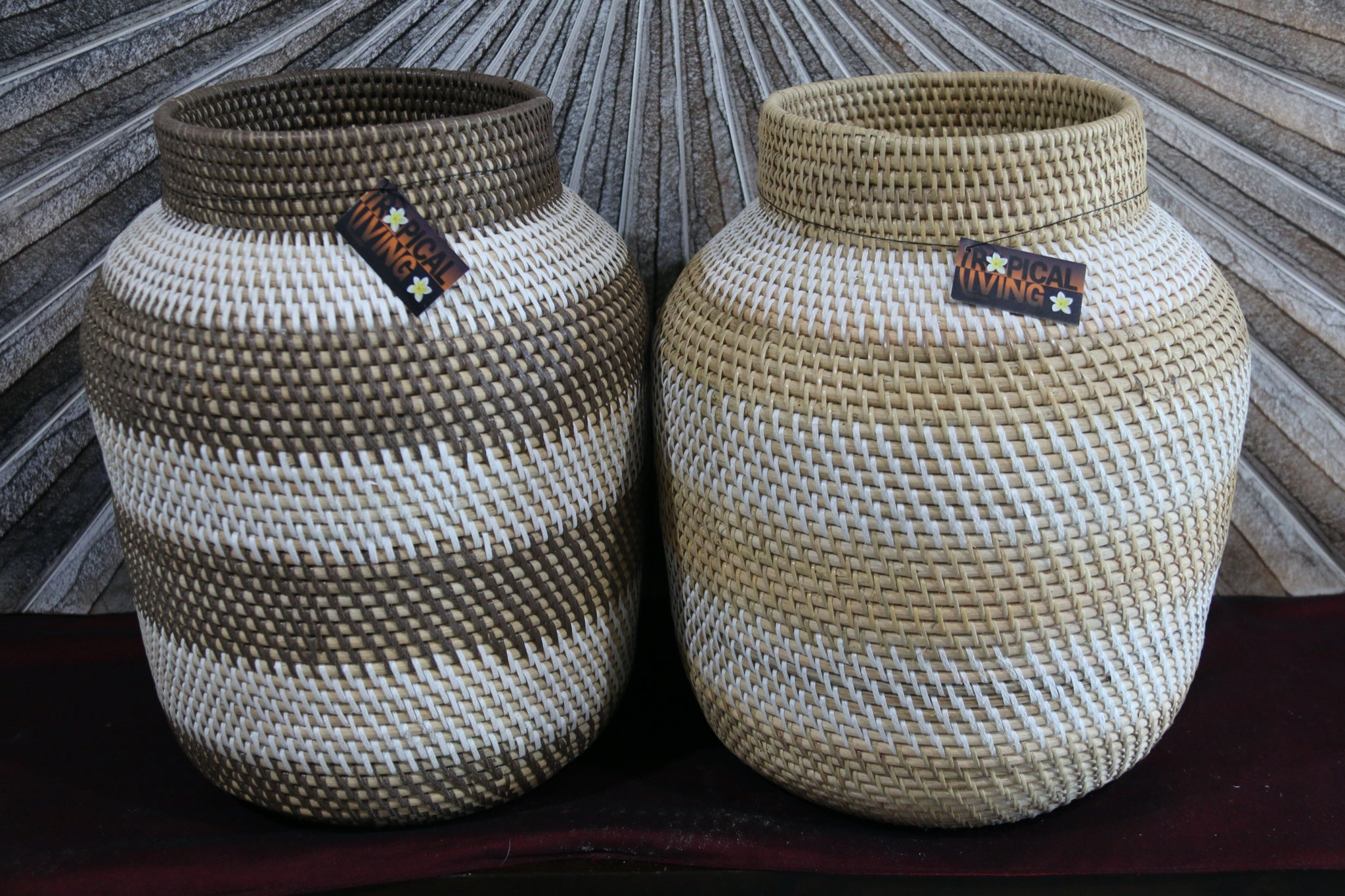 NEW Balinese Hand Woven Rattan Open Basket - Decor Vase S