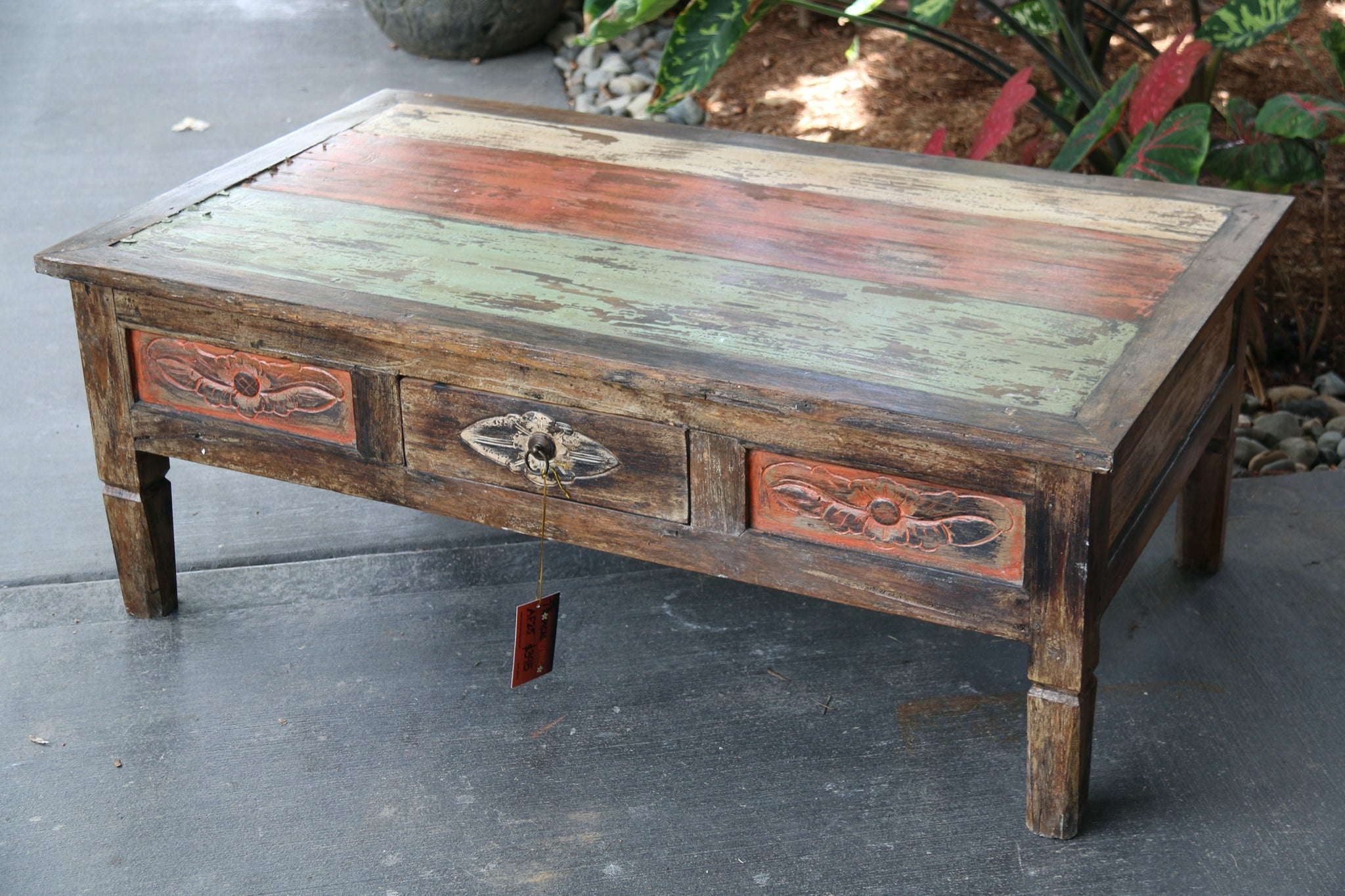 NEW Beautifully  Hand Carved & Crafted Recycled TEAK WOOD Balinese Coffee Table