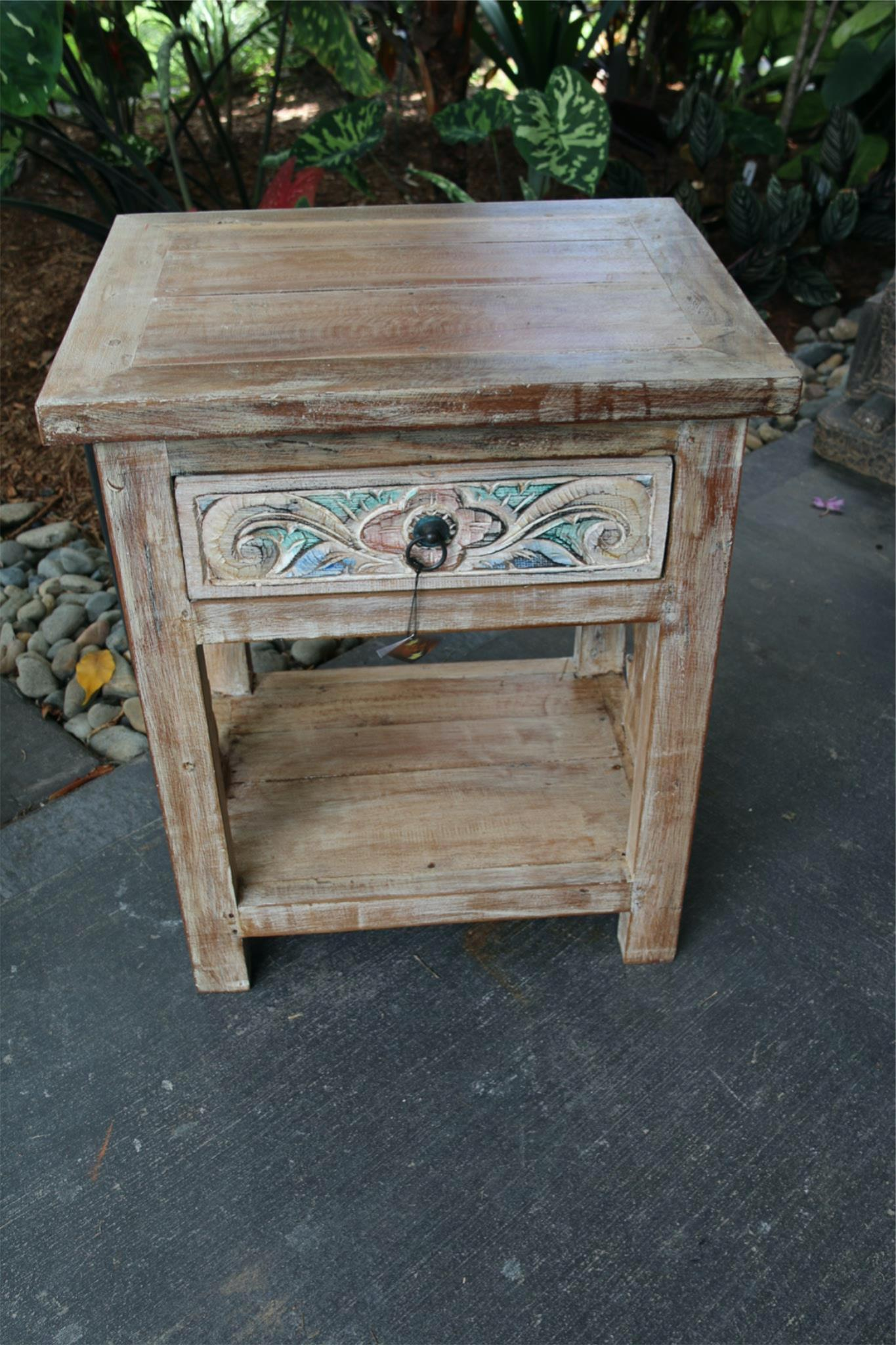 NEW Beautifully  Hand Carved & Crafted TEAK WOOD Balinese Bedside Table