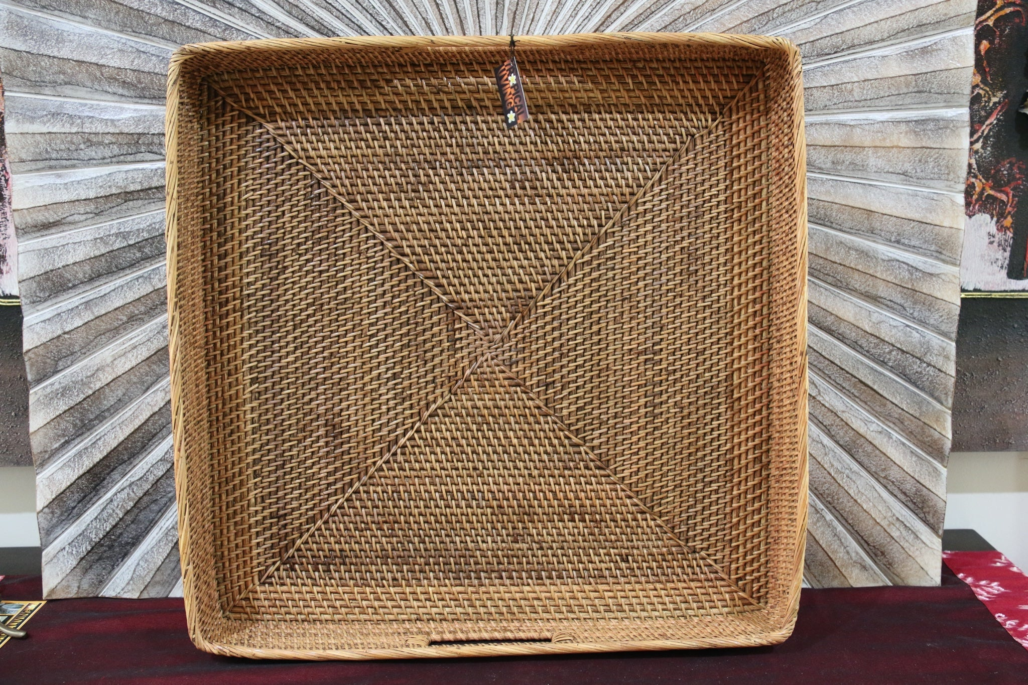 NEW Balinese Woven Rattan Open Basket / Tray - Choose from 2 Sizes...