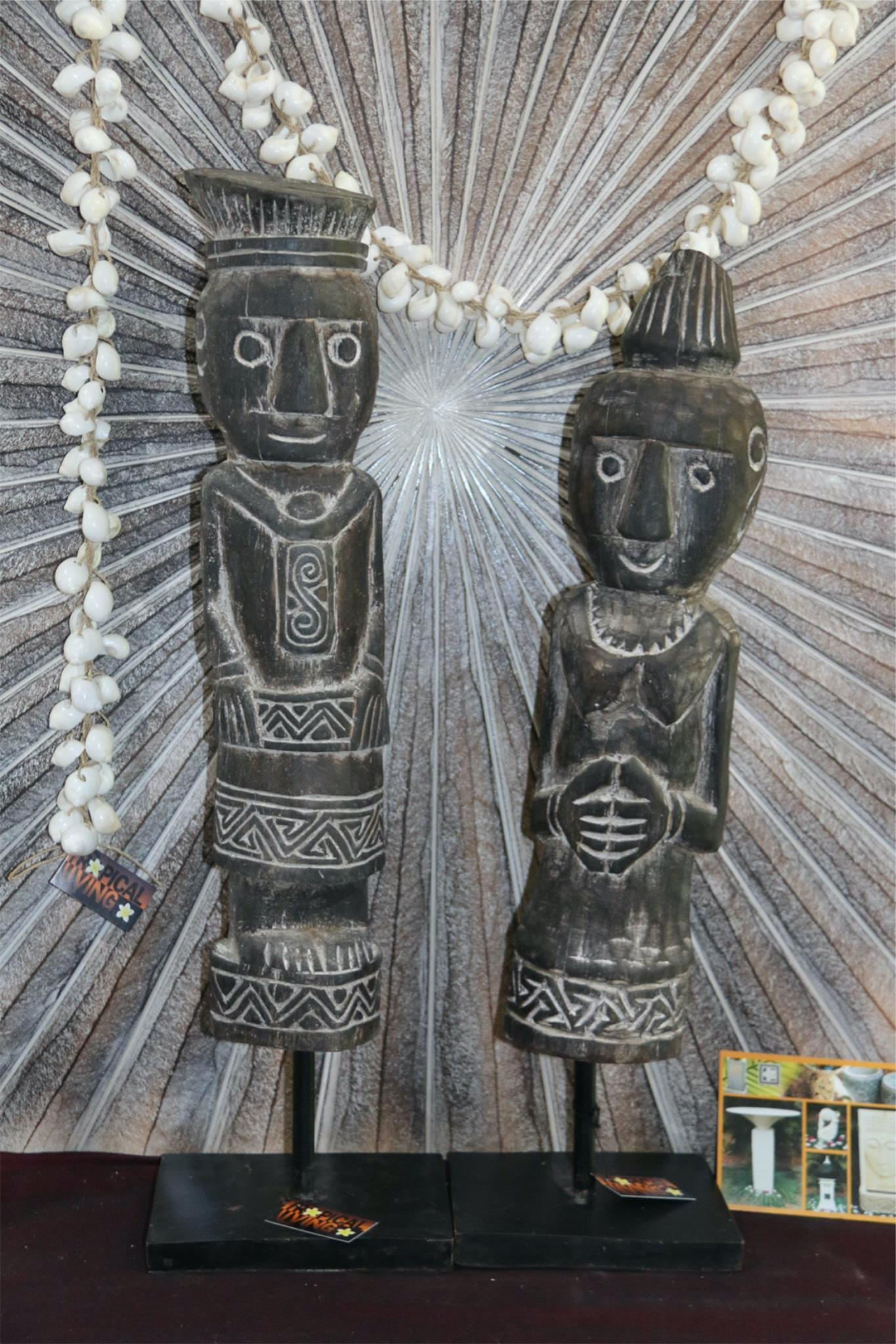 NEW Indonesian Hand Carved Primitive Wooden Sculpture on Stand - TIMOR ART