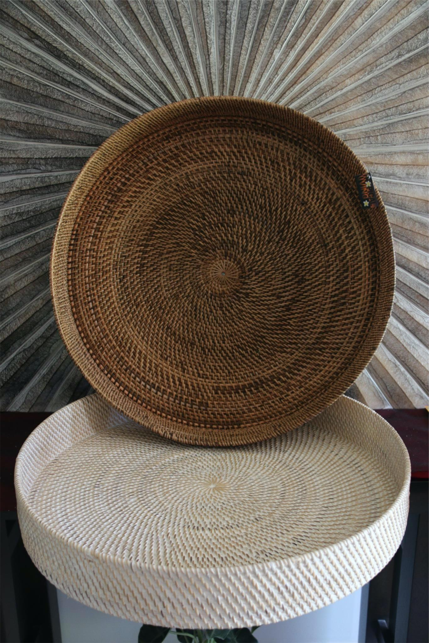 New Balinese Hand Woven Open Rattan Basket / Tray 60cm