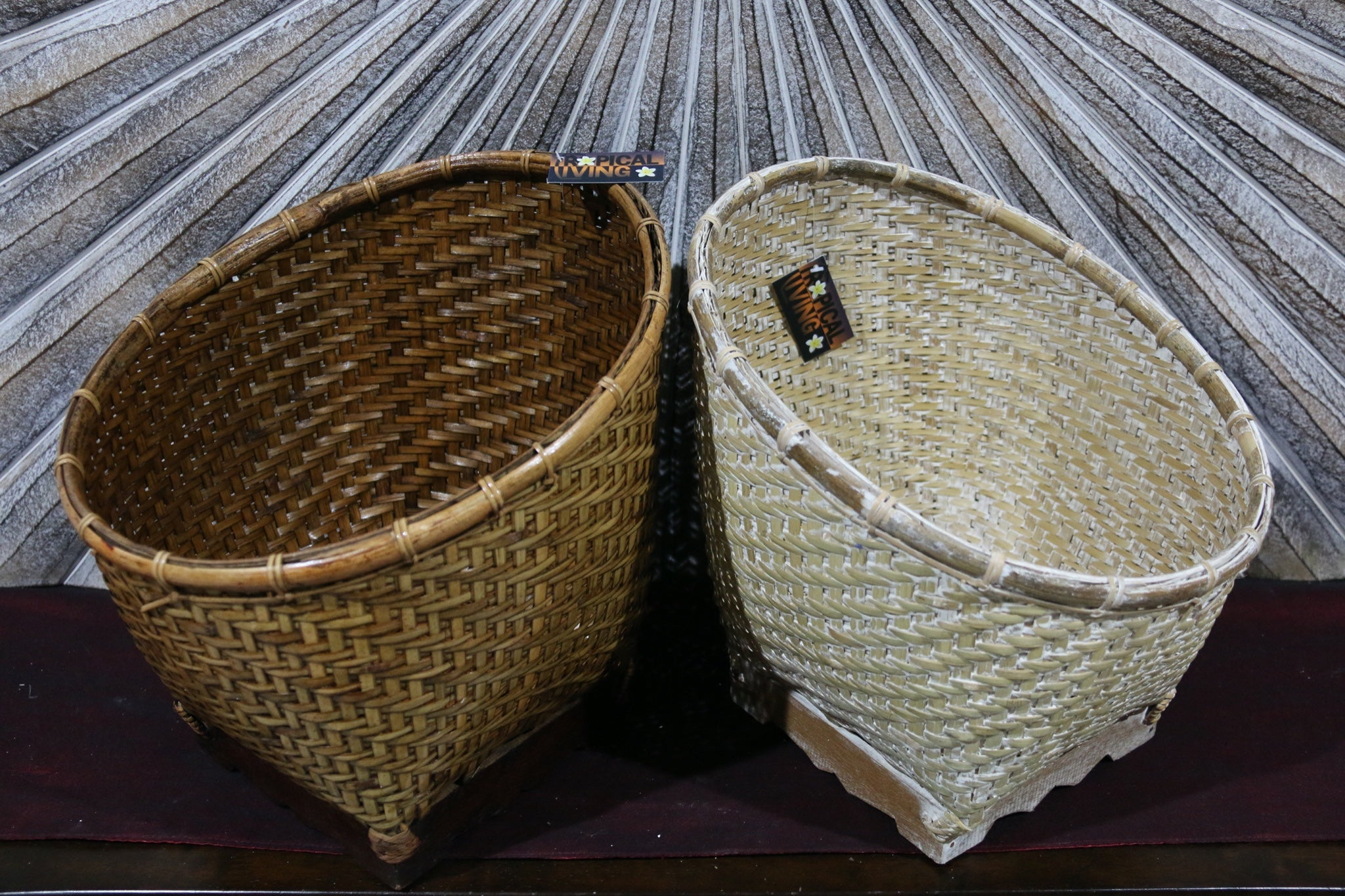 NEW BALINESE HAND WOVEN BAMBOO OPEN BASKET Medium